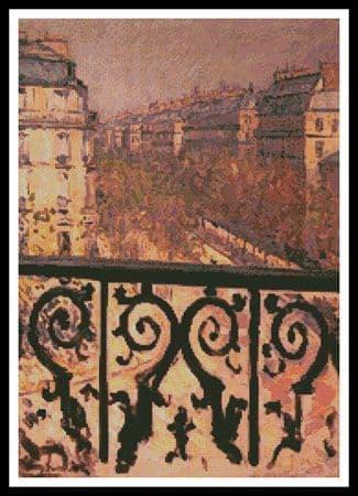 A Balcony in Paris by Artecy printed cross stitch chart